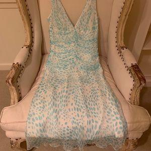 Trina Turk vintage silk white and blue dress